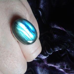 Blue Labradorite Silver Ring, 7.5